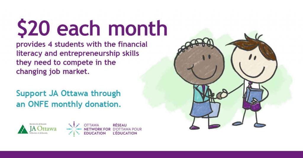 JA Ottawa, giving, ONFE, Ottawa Network for Education, Réseau d'Ottawa pour l'éducation